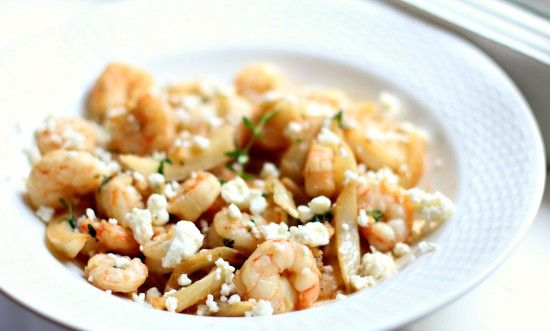 Sauteed Shrimp and Fennel with Lemon Thyme Sauce and Feta