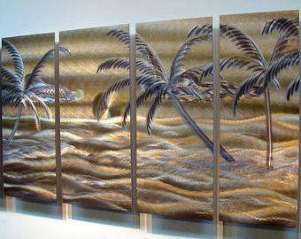 Painted Tropical Golden Beach Metal Wall Art Work / By Jon Allen