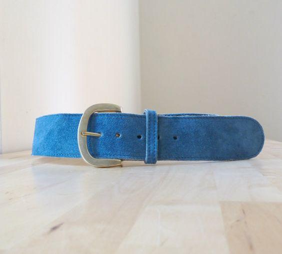 vintage blue suede belt wide belt high waist belt