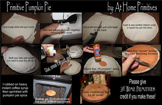 How to make fake pumpkin pies with muslin.