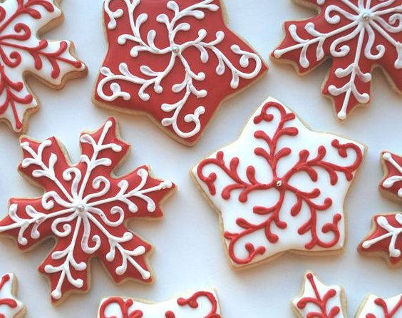 Red and white frosted Christmas sugar cookies.