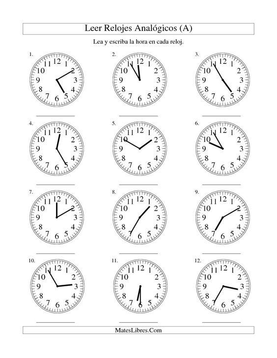 Worksheet La Hora Worksheet leer la hora en un reloj intervalos de 5 minutos a a