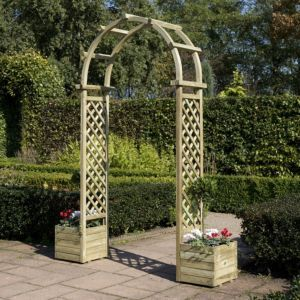 Rowlinson Softwood Round Top Arch With Planters Garden Arches