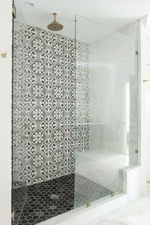 Well Appointed Walk In Shower Boasts A Round Vintage Brass Shower