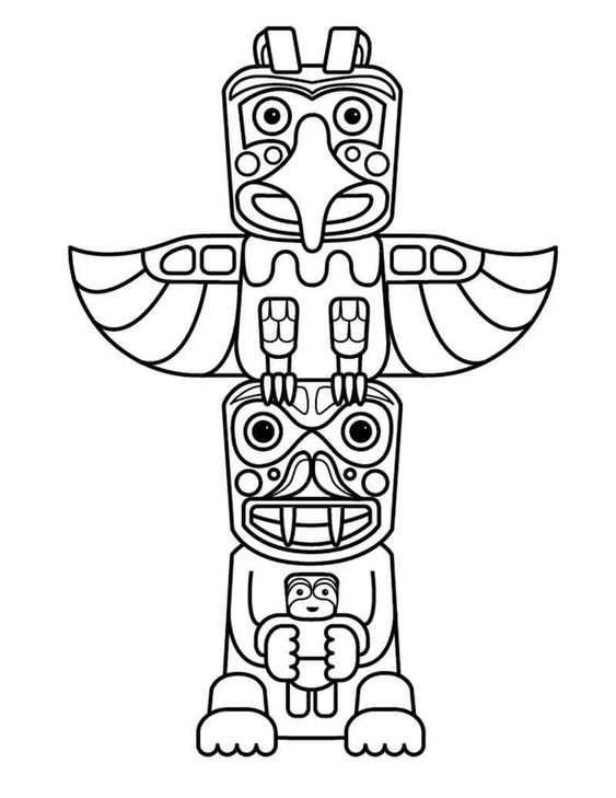 Totem Pole Coloring Pages For Kids Totem Pole Art Native American Totem Native American Art