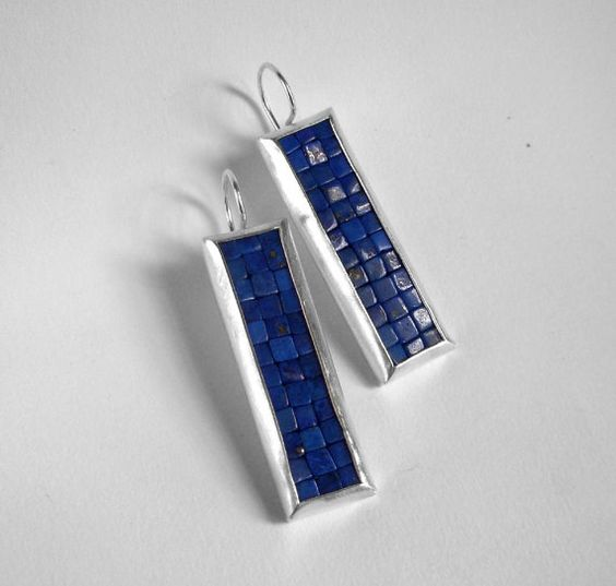 Mosaic Earrings  Lapis Lazuli & Matte Brushed Silver by Artesserae