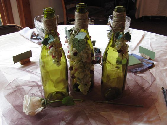Centerpiece for wine theme bridal shower
