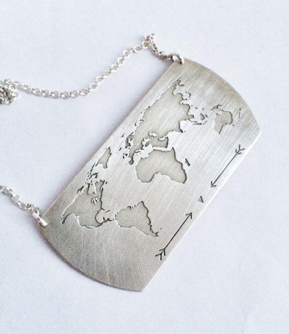 Traveller Necklace / World Map Necklace / Globe by Bubblebox