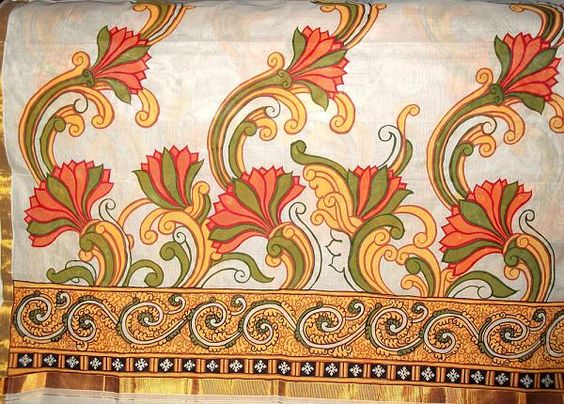 Indian painting styles kerala mural painting saree 5 for Mural painting designs