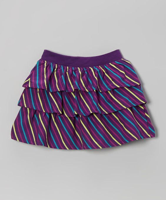 Take a look at this Eggplant Stripe Ruffle Skirt - Toddler & Girls on zulily today!