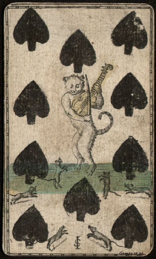 Playing card, 1700's. Ten of spades with cat playing fiddle for dancing mice.