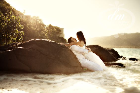 Bride and groom on the beach at a Destination wedding at the sand dollar estate in St. Thomas