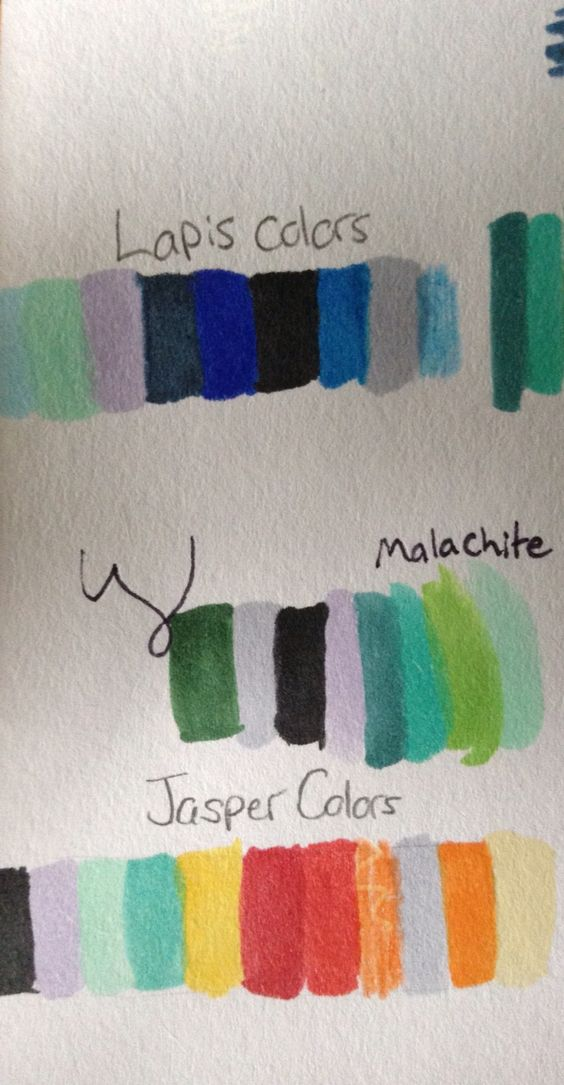 Some pallettes for Jasper, Malachite, and Lapis. Jasper is like a rainbow XD I had to use pencil crayons too, so that was fun to try and smooth out -_-