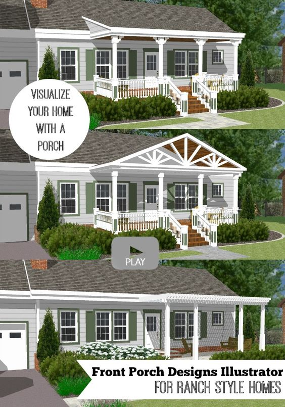Great front porch designs illustrator on a basic ranch for Different ranch style homes