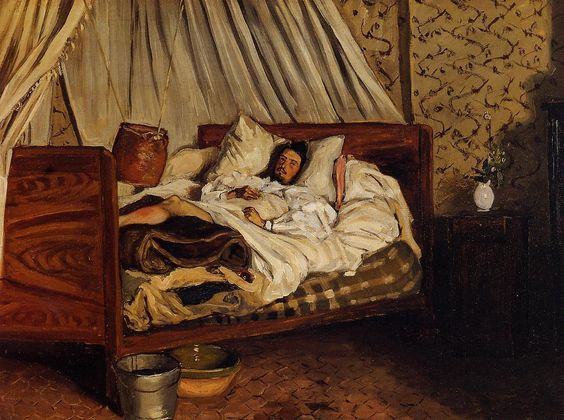 The Improvised Field Hospital (Jean Frederic Bazille - 1865) - Also known as Monet after His Accident at the Inn of Chailly