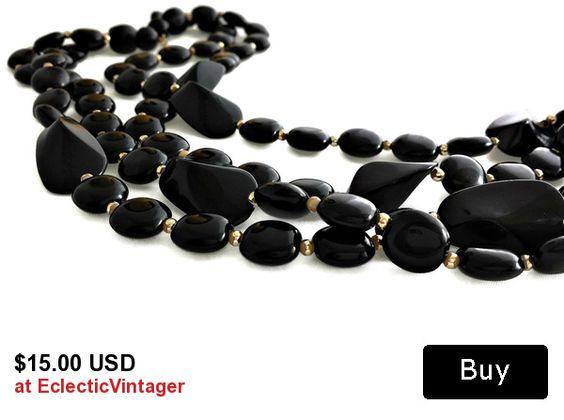 #multistrandnecklace #vintagejewelry #blackbeadnecklace #necklacesforwomen