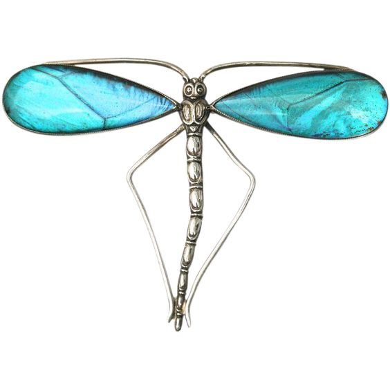 Antique Sterling Silver Butterfly wing Dragonfly brooch/pendant - Thomas L Mott, England $670 USD, Elizabeth Rose Antiques