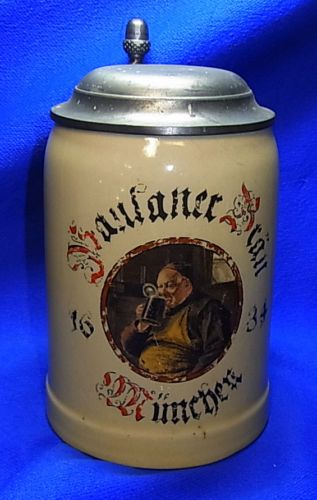 Vintage German Tin Top Lidded Paulaner Brew Munich Beer Stein #XX1