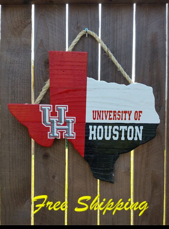 Rustic Wooden University of Houston Texas Shaped Flag Door/Wall Hanging