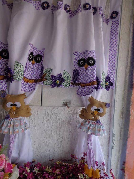 Hermosa cortina con sus con sujeta cortinas de buhos - Cortinas de goma ...
