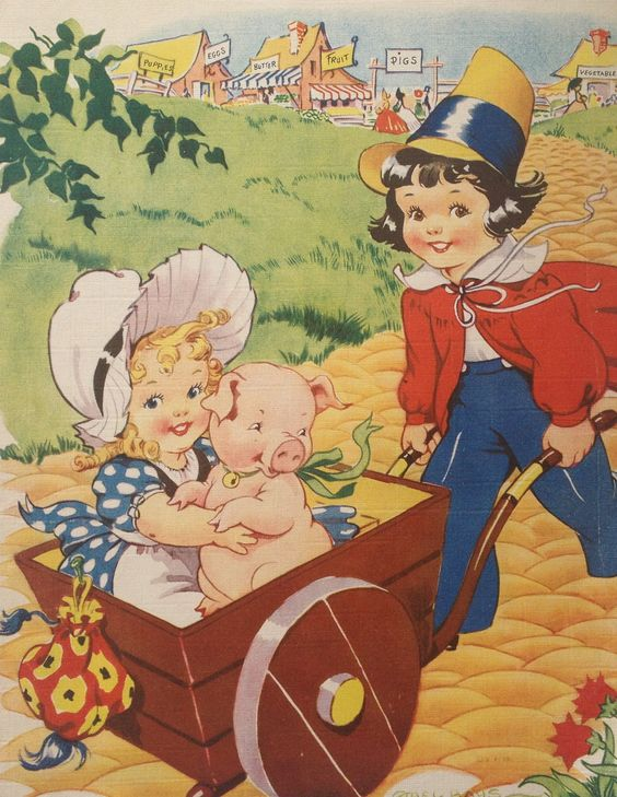 """To Market, To Market"" Artist:  Ethel Hays - Old Mother Goose Nursery Rhyme:"