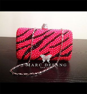 Red Pearl and Black Crystal Swirl Clutch by MDNY