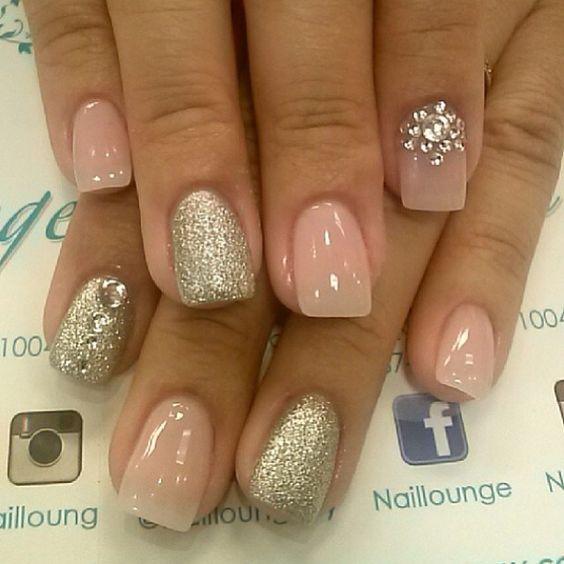Brillos Piedras Gelish Rosa Plateado Nails Pinterest Purpurina Estr S Y Piedras