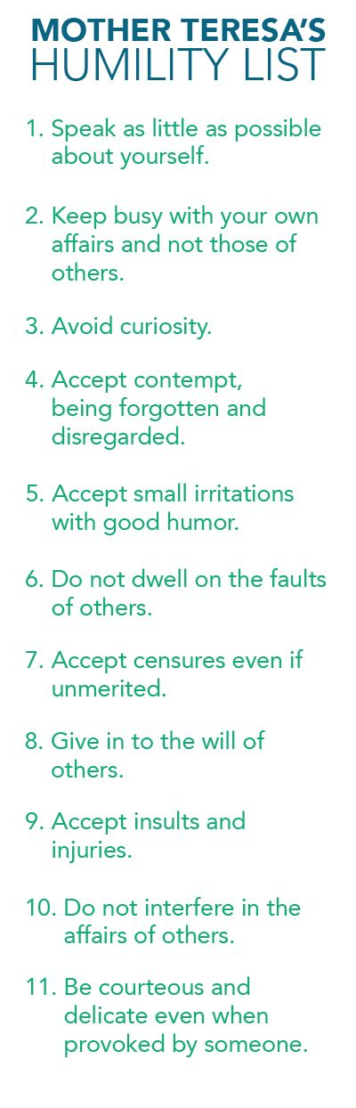 To Suffer for Souls: Mother Teresa's Humility List || Mother Teresa Quotes