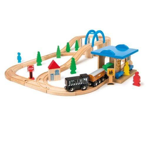 circuit de train en bois 62 pi ces oxybul pour enfant de 3 ans 8 ans prix promo circuits. Black Bedroom Furniture Sets. Home Design Ideas