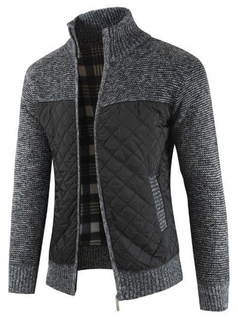 Gocgt Mens Casual Full Zip Fit Cardigan Stand Collar Slim Knitwear Sweaters