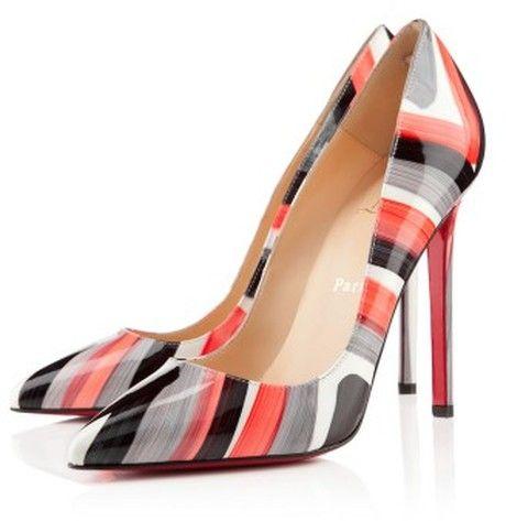 Christian Louboutin Grey/Black/Red/White Striped Classic Pump
