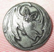 Antique Vintage Silver Metal Picture Button - Art Nouveau Stylized Winged Bat