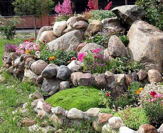moderner-steingarten-blumen-neben-den-steinen Steingarten - gartengestaltung mit steinen und blumen