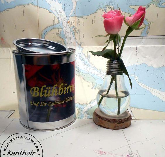 """Blumenvase, Vase """"Blühbirne"""" von Kantholz Kunsthandwerk auf DaWanda.com"""