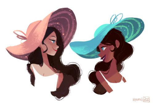 girls with sparkly hats