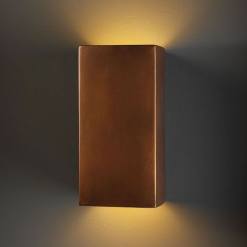 Justice Design Group Ambiance Antique Copper Large Rectangle Outdoor Wall Sconce Copper ...