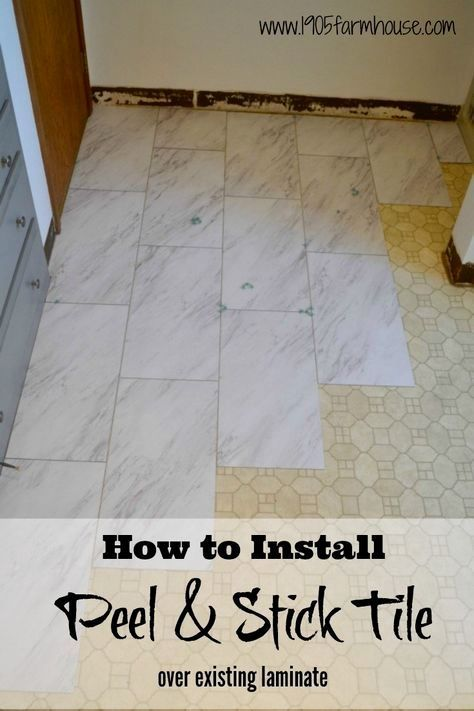 Transform A Bathroom Floor On A Budget With Peel And Stick Vinyl Tile With A High End Carerra Marble L In 2020 Diy Kitchen Flooring Stick On Tiles Peel And Stick Floor