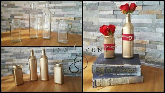 Upcycling - aus alt wird neu!  Alte Glasflaschen bzw. Glasdosen werden zu hübschen Vasen...