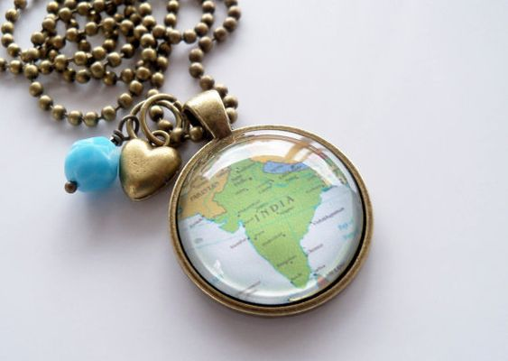 Map of India - Map Pendant Necklace by OxfordBright