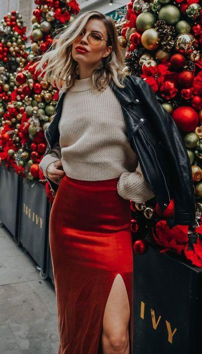 outfits casuales con faldas rojas