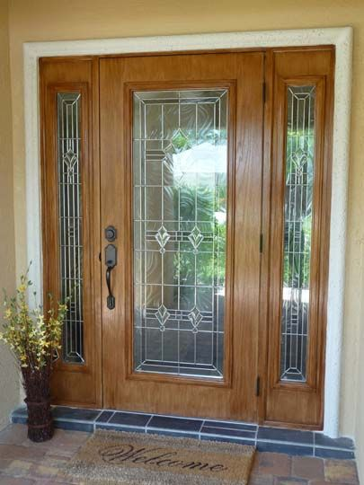 Front door with sidelights door with fiberglass for Fiberglass entry doors with sidelights