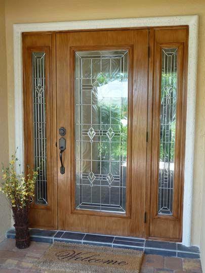 Front door with sidelights door with fiberglass for Wood doors with sidelights
