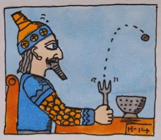 """Häufig, lieber Leser, spielt bei bedeutenden Entdeckungen der Zufall eine entscheidende Rolle, wie nachfolgendes Beispiel zeigt:  Einem Mathegenie aus Babylon flog 'ne Linse einmal von der Gabylon. Er sah staunend die Flugbahn und rief aus: """"Bin ich klug, Mann! Diese Kurve, die nenn' ich Parabylon."""