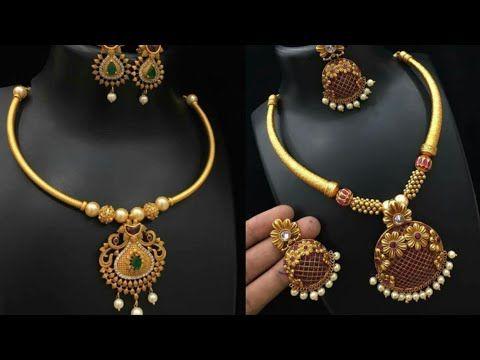 Beautiful Simple Pure Gold Necklace Set Design Ideas Light Weight