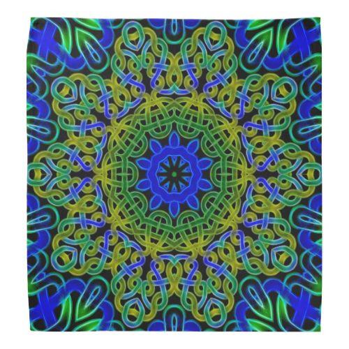 Blue green Celtic knot tile 145 Bandanna