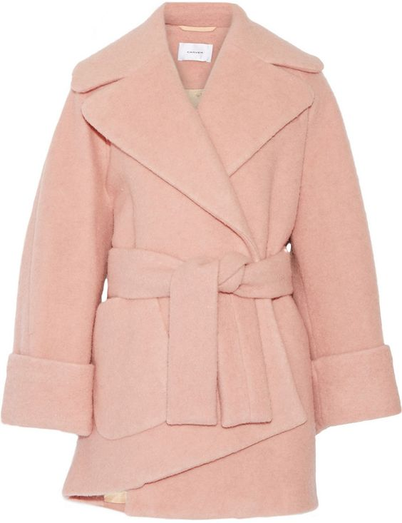 Carven Oversized Boiled Wool-Blend Coat - that blush pink color is