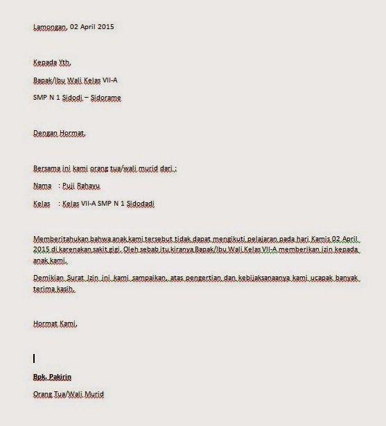 Contoh Surat Izin Tidak Masuk Sekolah Masuk Sekolah Surat Sekolah