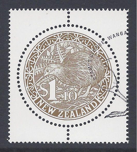 6.3.2000 Neuseeland, Runde Kiwi Briefmarke, $1.10 goldfarben