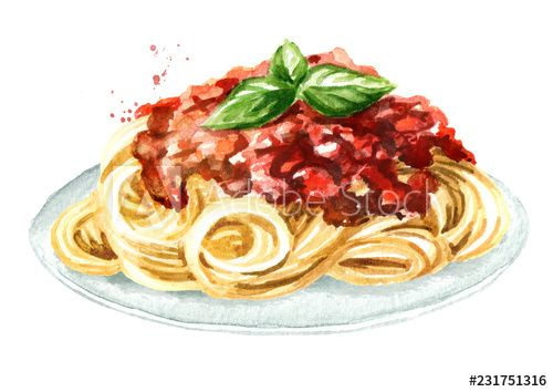 Spaghetti With Sauce Bolognese Watercolor Hand Drawn Illustration Isolated On White Background In 2021 Aesthetic Food Watercolor Food Food Illustrations