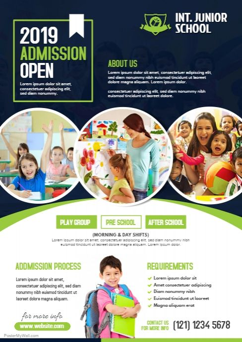 Junior School Flyer Template Education Poster Design School Brochure Pamphlet Design
